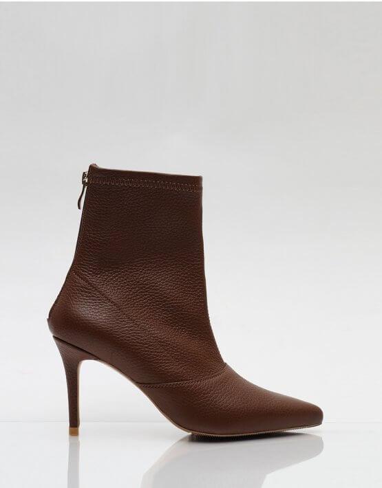 Кожаные ботинки на каблуке NZR_Rainbow-brown, фото 4 - в интеренет магазине KAPSULA