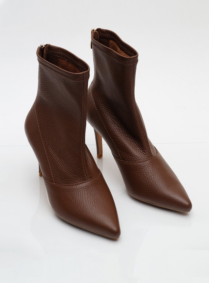 Кожаные ботинки на каблуке NZR_Rainbow-brown, фото 1 - в интеренет магазине KAPSULA