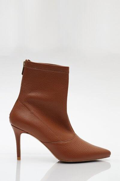 Кожаные ботинки на каблуке NZR_Rainbow-caramel, фото 4 - в интеренет магазине KAPSULA