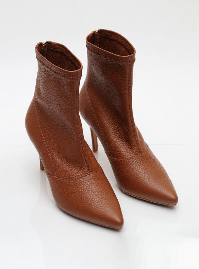 Кожаные ботинки на каблуке NZR_Rainbow-caramel, фото 1 - в интеренет магазине KAPSULA
