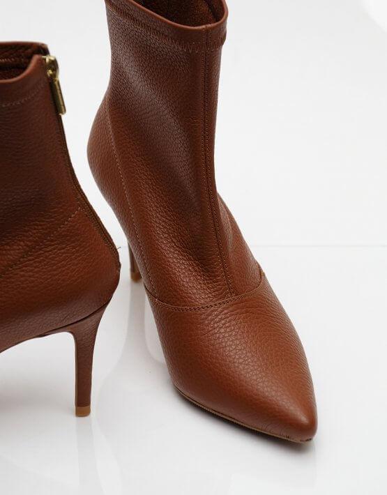 Кожаные ботинки на каблуке NZR_Rainbow-caramel, фото 5 - в интеренет магазине KAPSULA