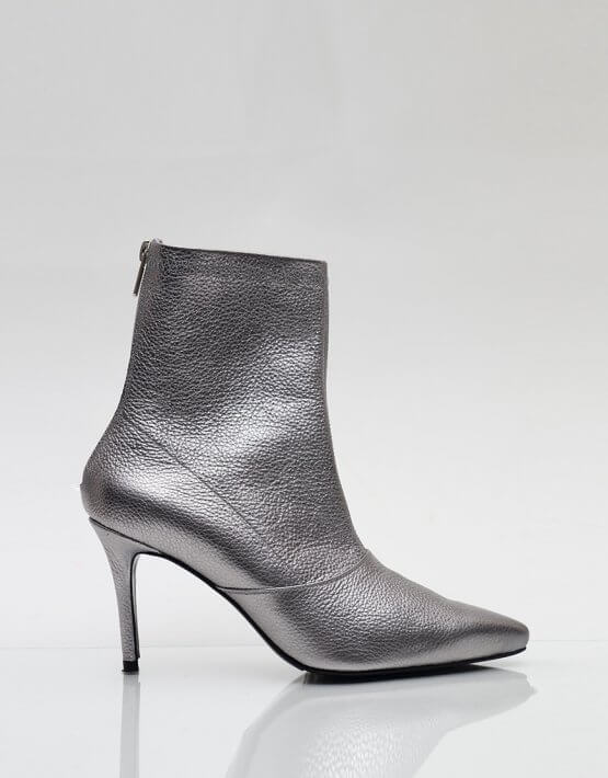Кожаные ботинки на каблуке NZR_Rainbow-darksilver, фото 3 - в интеренет магазине KAPSULA