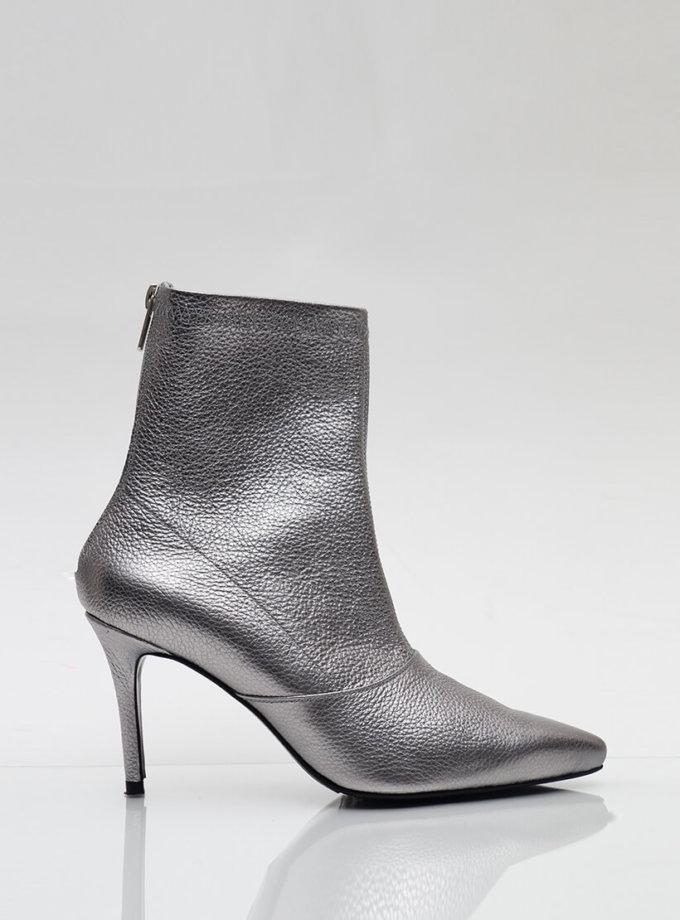 Кожаные ботинки на каблуке NZR_Rainbow-darksilver, фото 1 - в интеренет магазине KAPSULA
