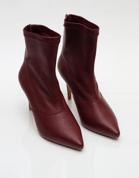 Кожаные ботинки на каблуке NZR_Rainbow-marsala, фото 4 - в интеренет магазине KAPSULA