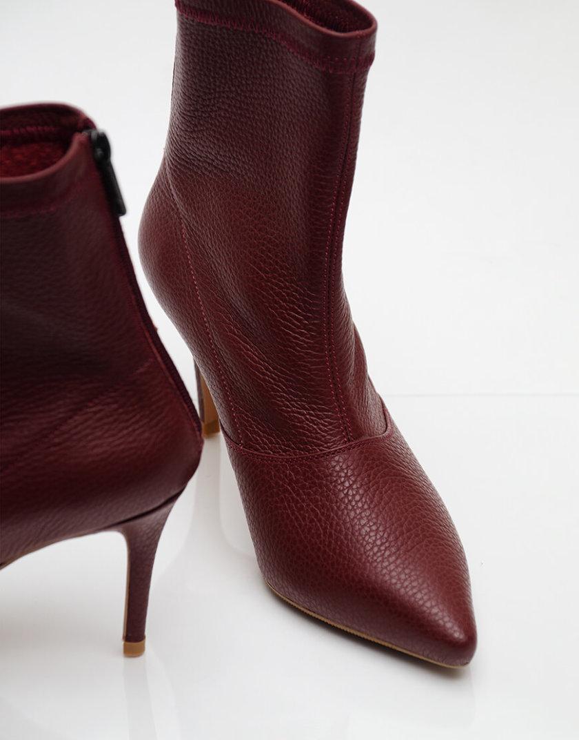 Кожаные ботинки на каблуке NZR_Rainbow-marsala, фото 1 - в интернет магазине KAPSULA