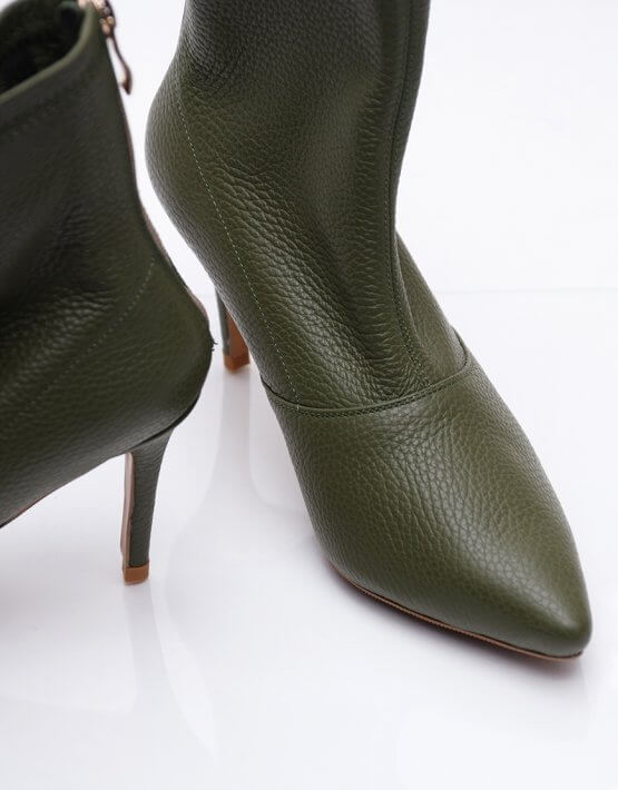 Кожаные ботинки на каблуке NZR_Rainbow-olive, фото 5 - в интеренет магазине KAPSULA