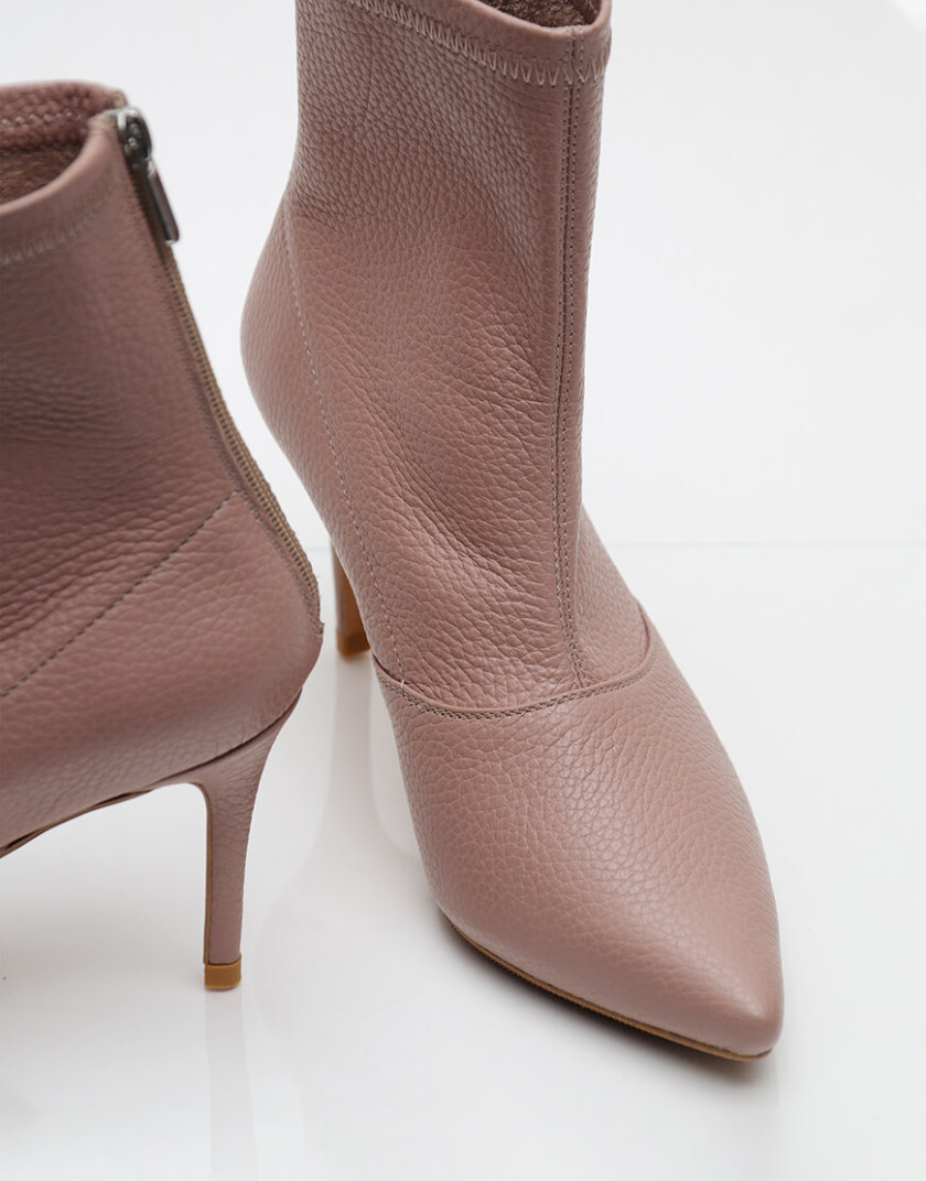 Кожаные ботинки на каблуке NZR_Rainbow-pudra, фото 1 - в интернет магазине KAPSULA
