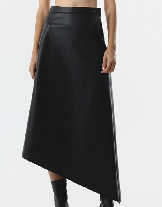 Асимметричная юбка из эко-кожи SHKO_20022002, фото 4 - в интеренет магазине KAPSULA