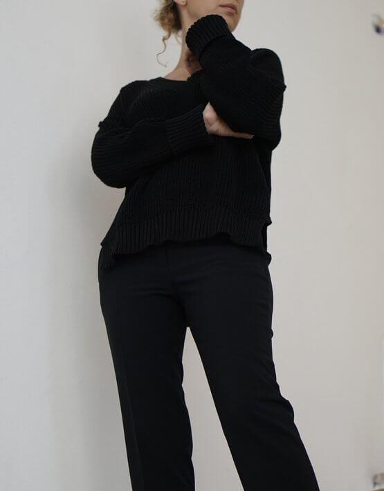 Хлопковый джемпер с V-вырезом SVST_AJC_2, фото 4 - в интеренет магазине KAPSULA