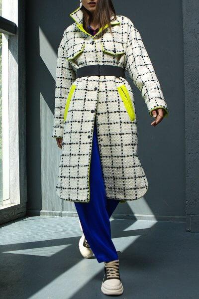 Пальто из шерсти в клетку TBC_20076w_0225, фото 1 - в интеренет магазине KAPSULA