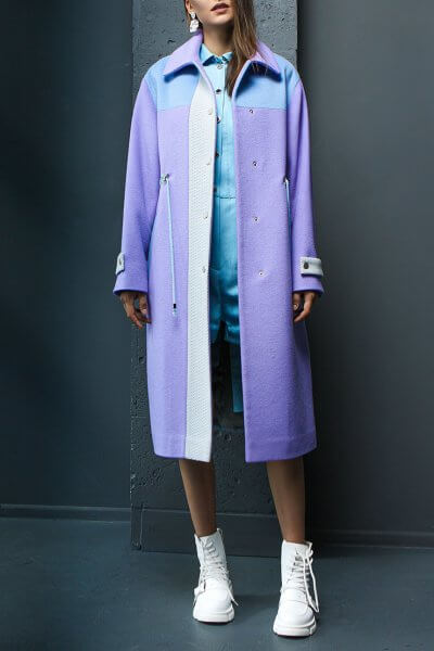 Шерстяное пальто с плащевой тканью TBC_20080w_2204, фото 1 - в интеренет магазине KAPSULA
