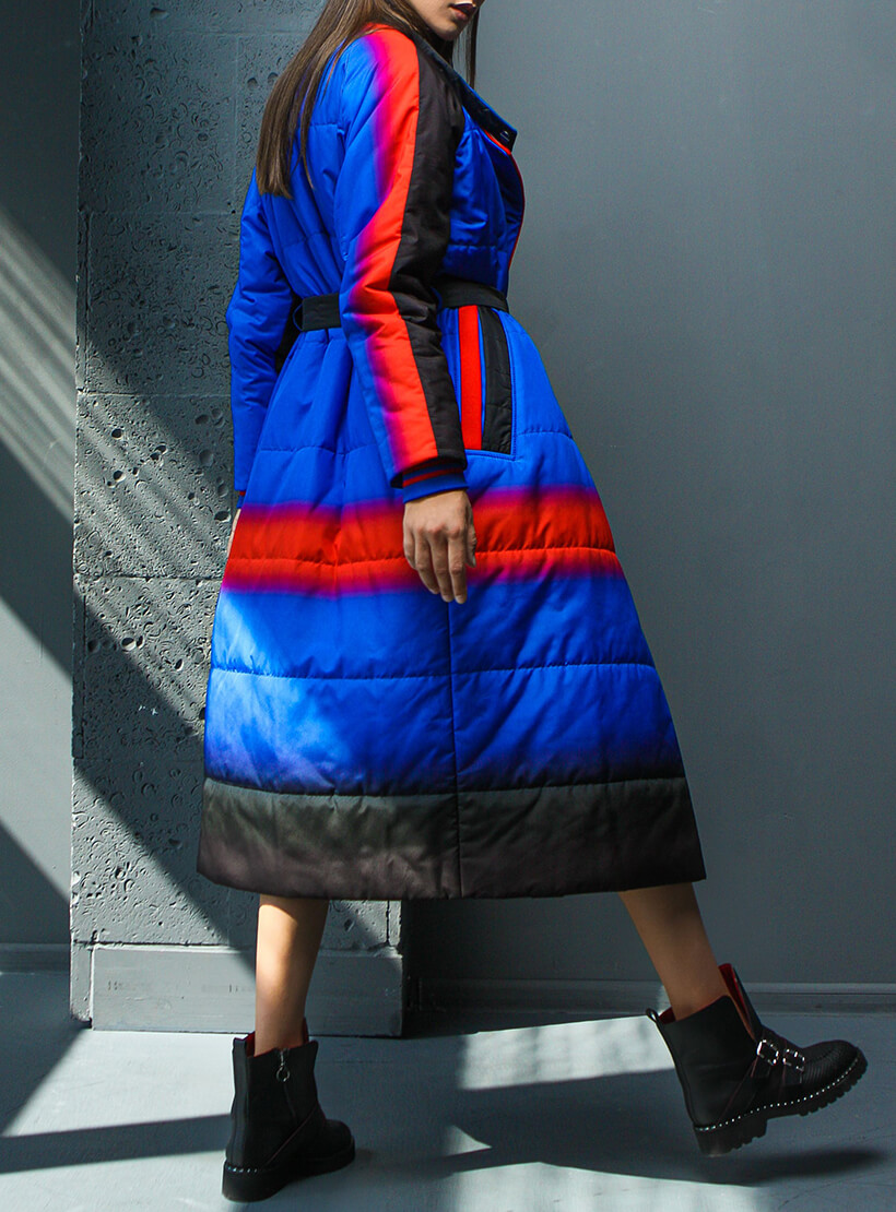 Стёганное пальто с поясом TBC_20082pl_2512, фото 1 - в интеренет магазине KAPSULA