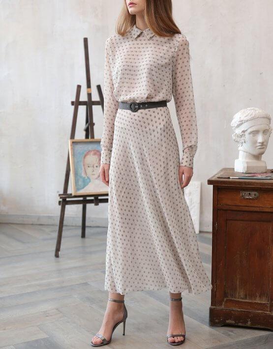 Платье миди в горох VONA_FW-20-21-01, фото 4 - в интеренет магазине KAPSULA