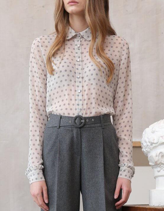 Полупрозрачная блуза в горох VONA_FW-20-21-03, фото 4 - в интеренет магазине KAPSULA