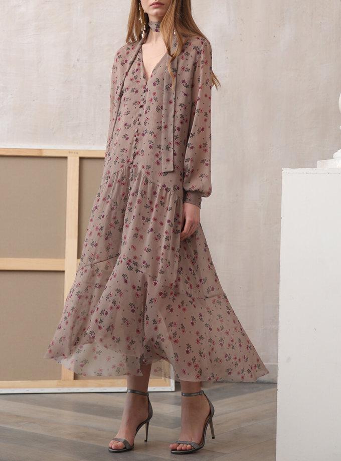 Шифоновое платье в цветочный принт VONA_FW-20-21-09, фото 1 - в интеренет магазине KAPSULA