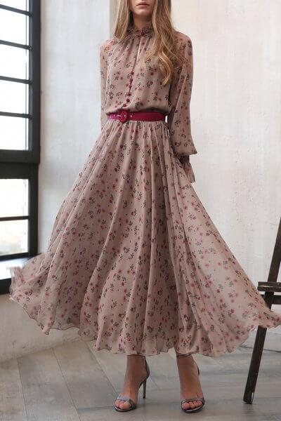 Приталенное платье с поясом VONA_FW-20-21-14, фото 1 - в интеренет магазине KAPSULA