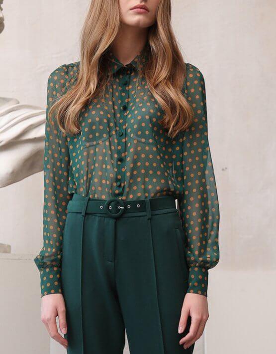 Блуза в горох на подкладе VONA_FW-20-21-24, фото 3 - в интеренет магазине KAPSULA