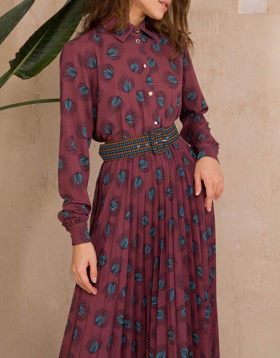 Платье с юбкой-плиссе и поясом VONA_FW-20-21-32, фото 5 - в интеренет магазине KAPSULA