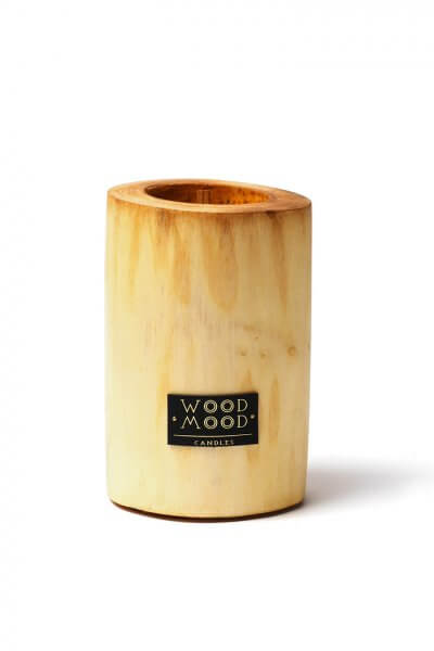 Свеча в дереве полированная с ароматом кедра M WM_silky_m, фото 1 - в интеренет магазине KAPSULA