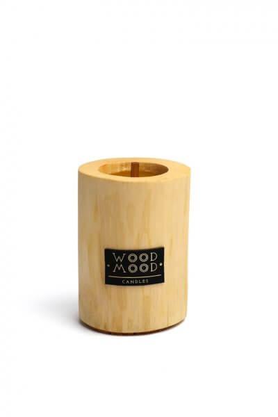 Свеча в дереве полированная с ароматом кедра S WM_silky_s, фото 1 - в интеренет магазине KAPSULA