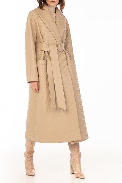 Стеганое пальто из эко-кожи Beige WNDR_fw2021_spbez_02, фото 1 - в интеренет магазине KAPSULA