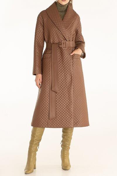 Стеганое пальто из эко-кожи Brown WNDR_fw2021_spbr_02, фото 3 - в интеренет магазине KAPSULA