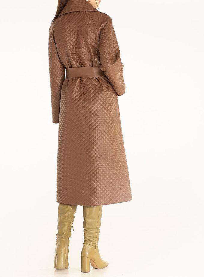 Стеганое пальто из эко-кожи Brown WNDR_fw2021_spbr_02, фото 1 - в интеренет магазине KAPSULA