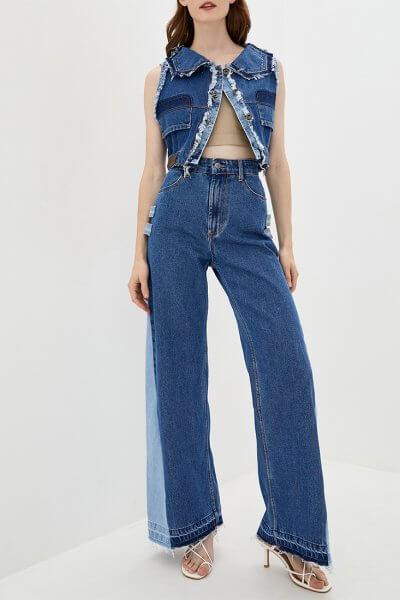 Комбинированные джинсы-клёш WNDM_jk0, фото 1 - в интеренет магазине KAPSULA