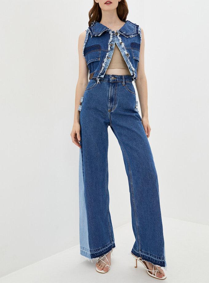 Комбинированные джинсы-клёш WNDM_jk0, фото 1 - в интернет магазине KAPSULA
