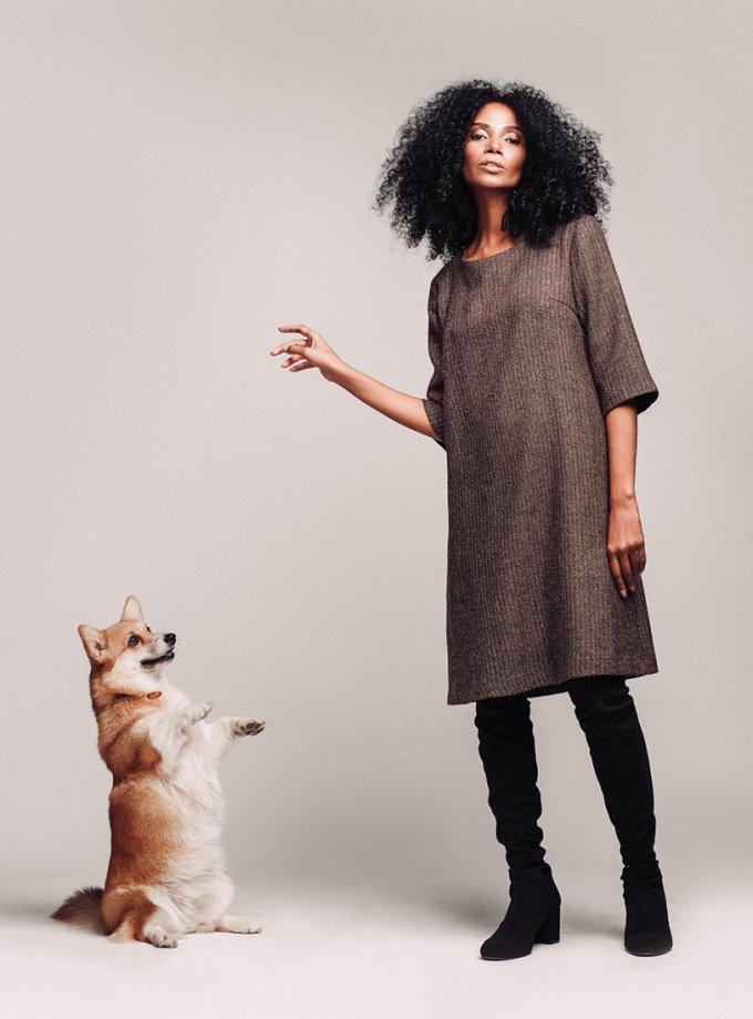 Платье свободного кроя из шерсти NM_20K, фото 1 - в интеренет магазине KAPSULA