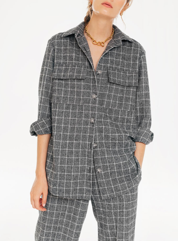 Рубашка в клетку с накладными карманами BLCGR_BLCN735, фото 1 - в интеренет магазине KAPSULA