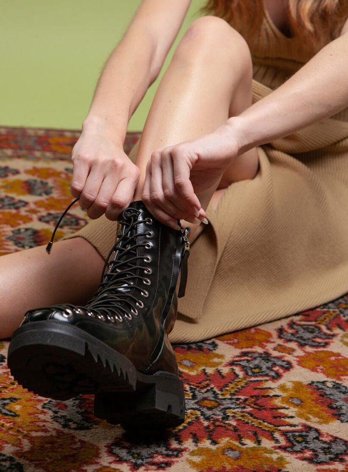 Лаковые ботинки Stars boots на флисе ED_STB-f-01, фото 1 - в интернет магазине KAPSULA