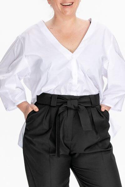 Хлопковая рубашка с V-вырезом ALOT_020226, фото 1 - в интеренет магазине KAPSULA