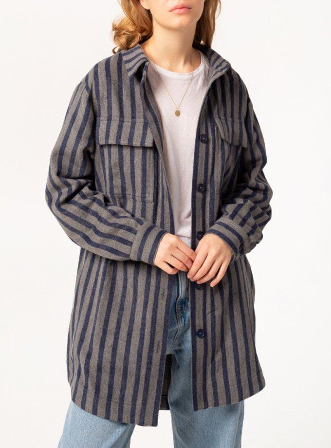 Удлиненная рубашка в полоску BLCN753, фото 1 - в интернет магазине KAPSULA