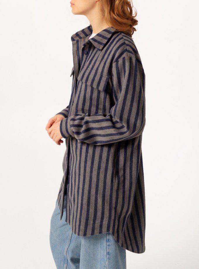 Удлиненная рубашка в полоску BLCN753, фото 1 - в интеренет магазине KAPSULA