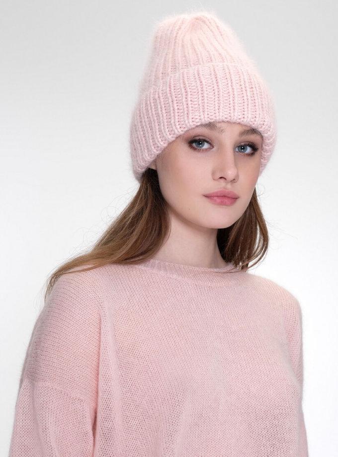 Шапка с отворотом из ангоры MISS_HAT-001-pink, фото 1 - в интеренет магазине KAPSULA