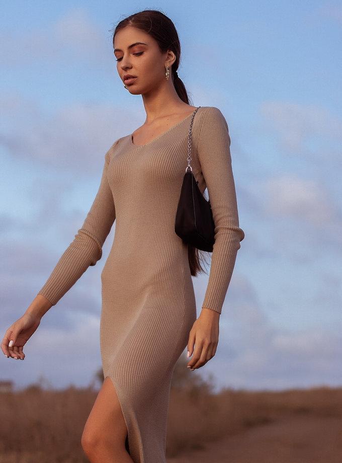 Платье MARA BEIGE c разрезом JDW_J.D.0510-1, фото 1 - в интернет магазине KAPSULA