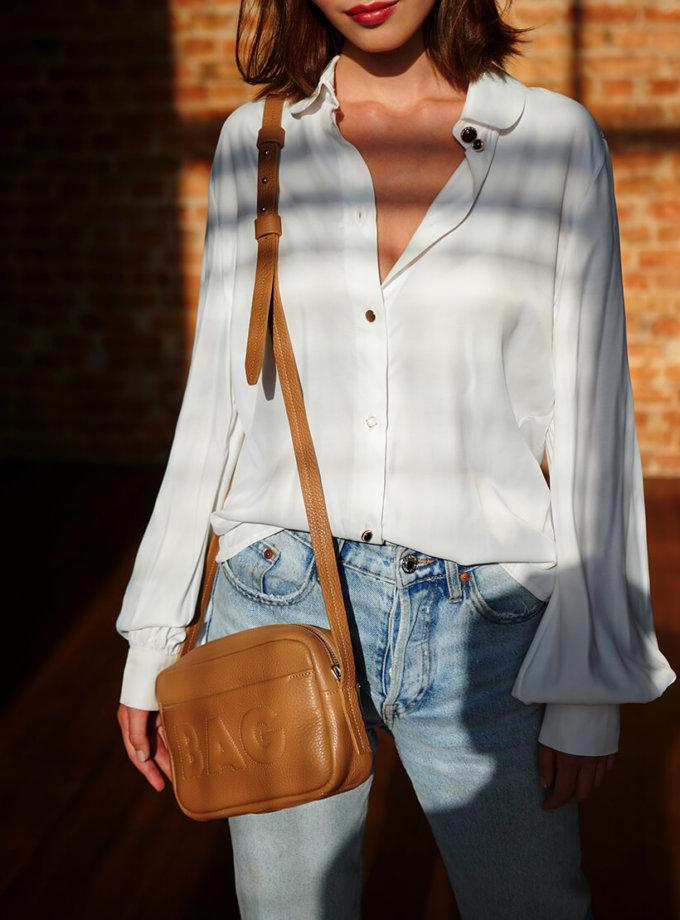 Сумка  из кожи со съемным карманом KLNA_Bag-caramel, фото 1 - в интеренет магазине KAPSULA