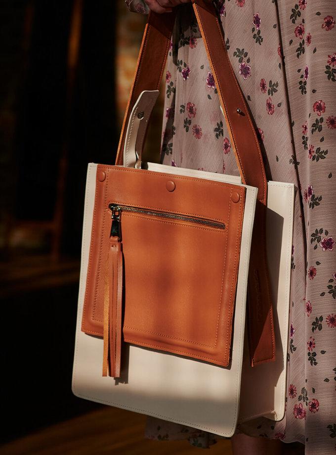 Сумка  из кожи со съемным карманом KLNA_Fx-bg, фото 1 - в интеренет магазине KAPSULA