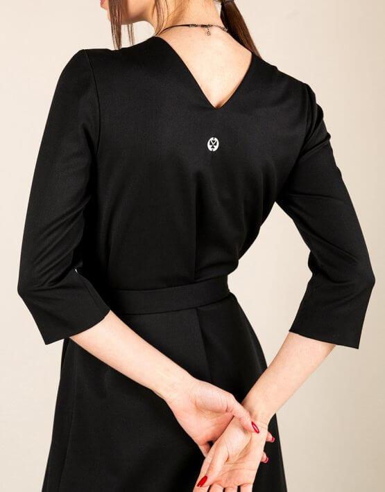 Платье А-силуэта с вырезом сзади MMT_042b_black, фото 6 - в интеренет магазине KAPSULA