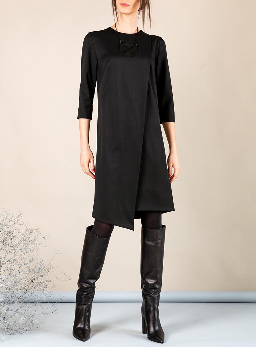 Платье А-силуэта с вырезом сзади MMT_042b_black, фото 1 - в интернет магазине KAPSULA