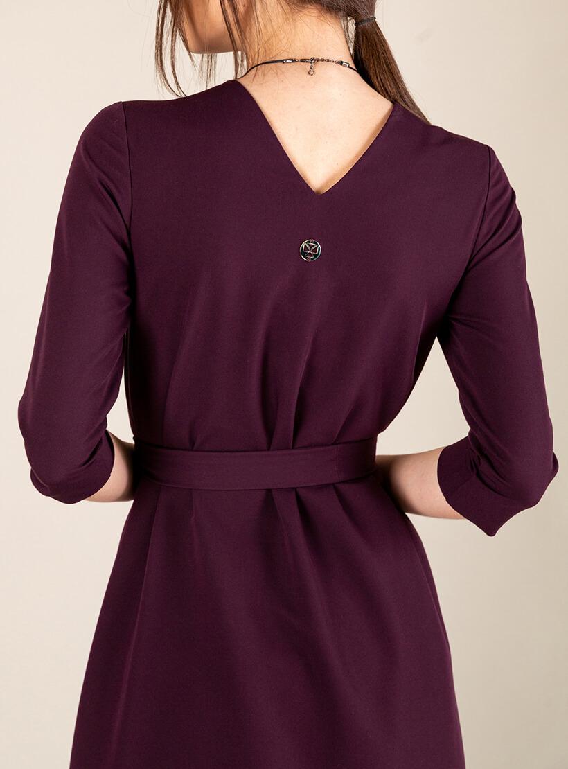 Платье А-силуэта с вырезом сзади MMT_042b_blackberry, фото 1 - в интернет магазине KAPSULA