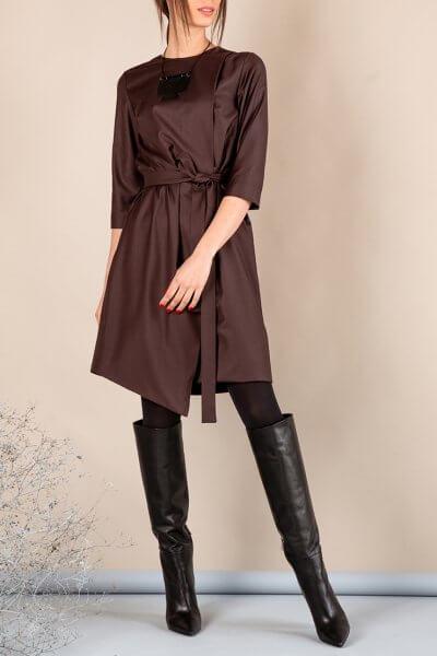 Платье А-силуэта с вырезом сзади MMT_042b_chocolate, фото 1 - в интеренет магазине KAPSULA