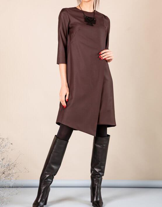 Платье А-силуэта с вырезом сзади MMT_042b_chocolate, фото 5 - в интеренет магазине KAPSULA