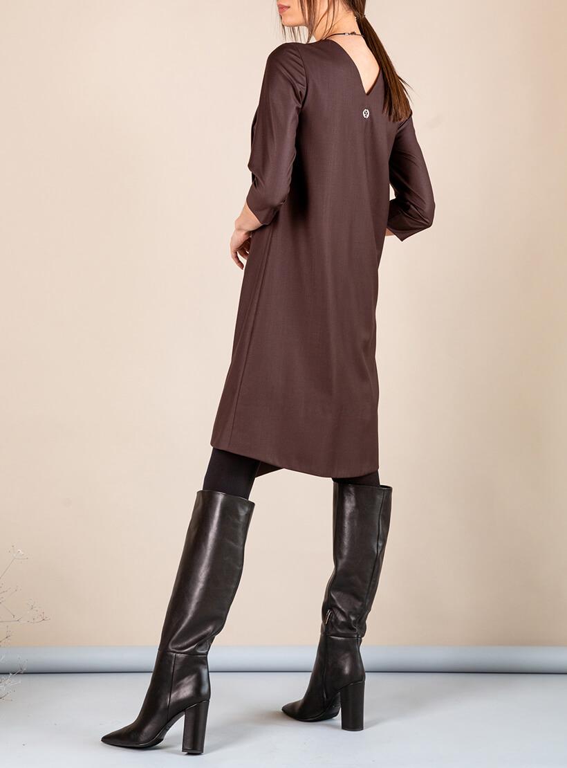 Платье А-силуэта с вырезом сзади MMT_042b_chocolate, фото 1 - в интернет магазине KAPSULA
