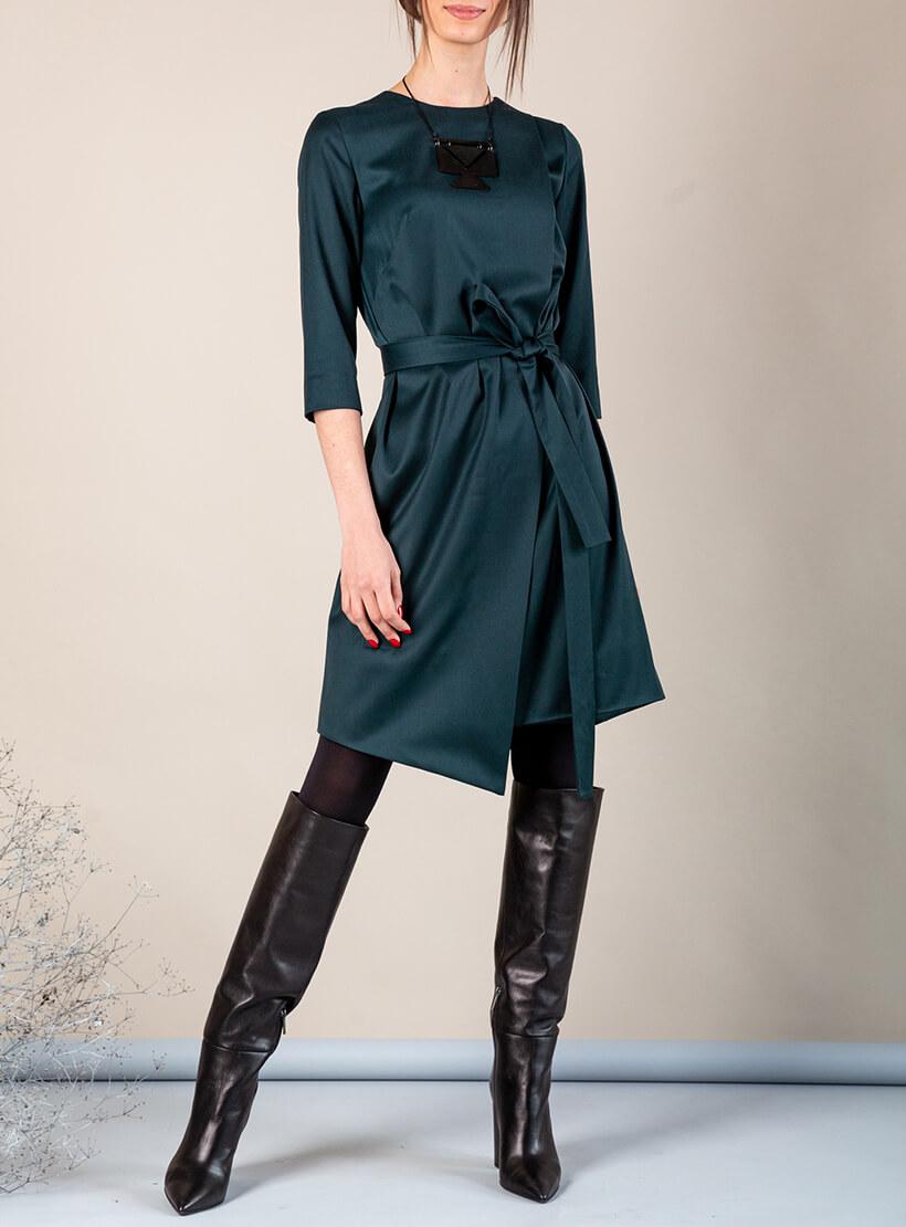 Платье А-силуэта с вырезом сзади MMT_042b_dark_green, фото 1 - в интернет магазине KAPSULA
