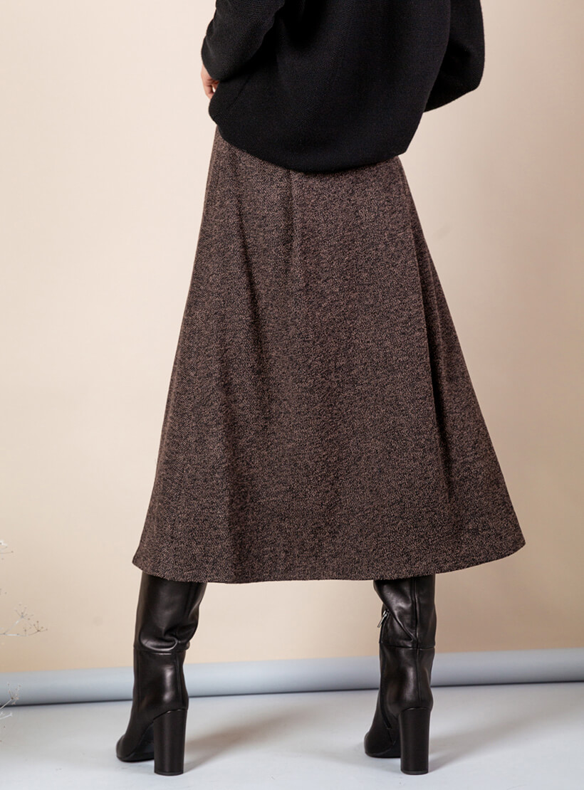 Юбка-трапеция из шерсти MMT_090_brown_diagonal, фото 1 - в интеренет магазине KAPSULA