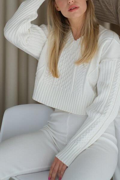 Укороченный свитер с косами MSY_Sweater_mini_ivory, фото 1 - в интеренет магазине KAPSULA
