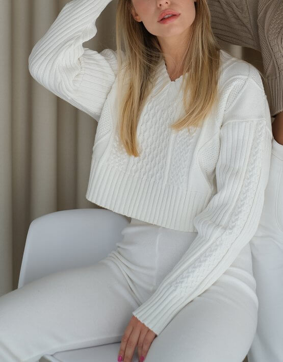 Укороченный свитер с косами MSY_Sweater_mini_ivory, фото 3 - в интеренет магазине KAPSULA