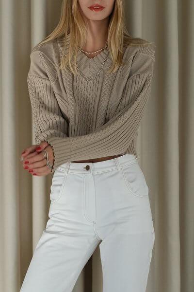 Укороченный свитер с косами MSY_Sweater_mini_nude, фото 1 - в интеренет магазине KAPSULA